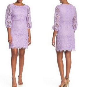 NWT Eliza J Purple Lilac Lace Long Sleeve Dress
